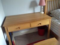 Solid Oak desk / dressing table and chair