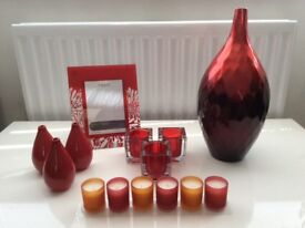 NEXT red home room decorative accessories - vase, picture frame, tea ligh holder, candles