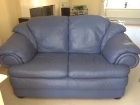Italian Soft Leather Suite in Mid Blue