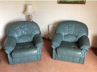 Quality green leather sofa and 2 matching armchairs for sale