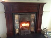 Victorian Fireplace with original tiles and solid wood surround/mantle