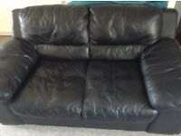 2x 2 seater Dfs leather sofas & footstool storage