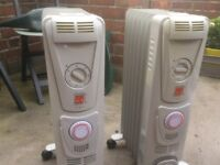 2.5kW oil filled radiator with timer x2