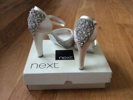Next Ivory Jewelled Back Platform Shoes