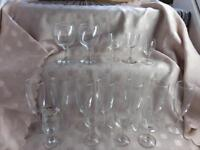 Glasses collection of 30 collectibles and new flutes five pounds the Lot