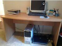 Light wood computer desk 74 cm tall x 137 cm wide x 66 cm deep.