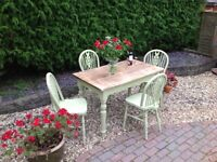 REFURBISHED SOLID WOOD FARMHOUSE RUSTIC TABLE AND FOUR MATCHING CHAIRS -can deliver