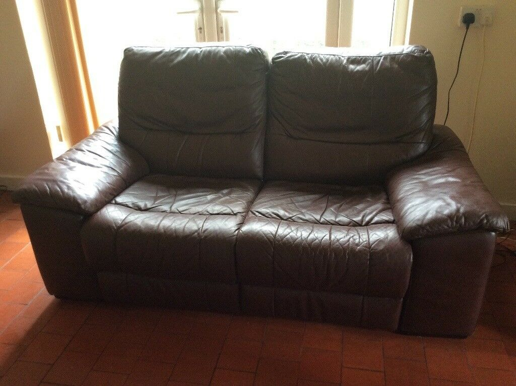 Brown leather reclining sofa £35 ono