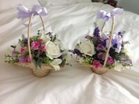 Bridesmaids flower baskets (2) made with silk flowers