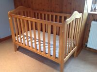 Mothercare dropside cot - pine.