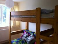 sturdy solid wood bunk bed with sofa , shelf and desk