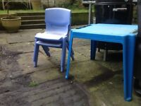 Child's garden or playroom table and 2 chairs FREE to collect