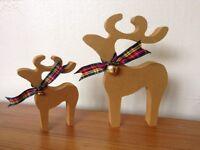 christmas star gazing reindeer decorations mother and baby metallic gold bells tartan scarf ribbon
