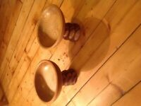 Pair of solid wood turned dishes