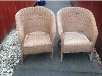 2 x Childrens Wicker Basket Chairs