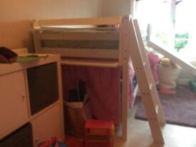 Child mid sleeper bed with slide and rack