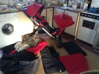 City select double pram stroller
