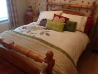 Bedroom Furniture - Solid Chunky Pine Bedstead, Drawers, Mirror and Bedside Cabinets