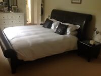 Super Kingsize Dark Brown Luxury Leather Sleigh Bed