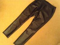 """LEATHER LOOK"" Black Shiny Pants Size 16"