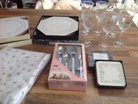 Eternal Beau Dinner / Tea Set, 6 Wine Glasses plus complete Table Setting.