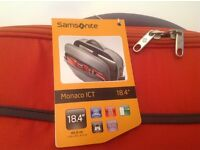 "Samsonite Monaco ICT office case 18.4"" orange. Neoprene, iPad, iPhone, tablet, fly, travel, BNWT"