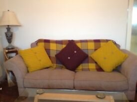3 Seater Furniture Village Sofa, fawn chenille fabric, excellent condition, Local delivery possible.