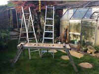 Working ladders, aluminium, adjustable.