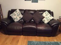 Fully reclining 3 seater leather suite with matching electric recliner chair