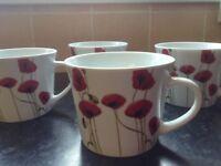 4 Large Poppy Mugs