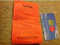 TK MAXX store credit of £24.99