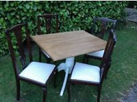 Pine dining table four antique chairs farmhouse country