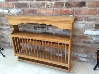 Antic pine Wood16 Plate Rack Wall Mounted unit with 3 shelves