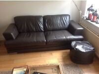 brown leather 2 and 3 seater sofas. 2 years old. Great condition.