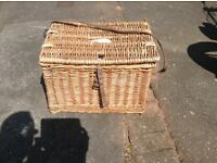 Fishermans whicker basket seat with leather strap