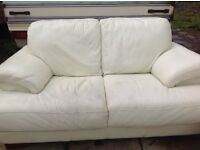REDUCED.... White leather 2 piece suite for sale