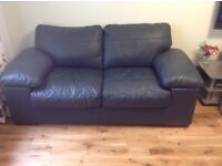 Navy Leather Bed Settee