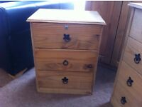 VERY GOOD CONDITION!!! Mexican Pine 3 drawer bedside cabinet