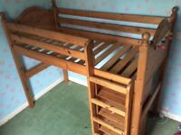 Solid Pine Bunk Bed with Wardrobe, Shelves and Chest of Drawers/Desk