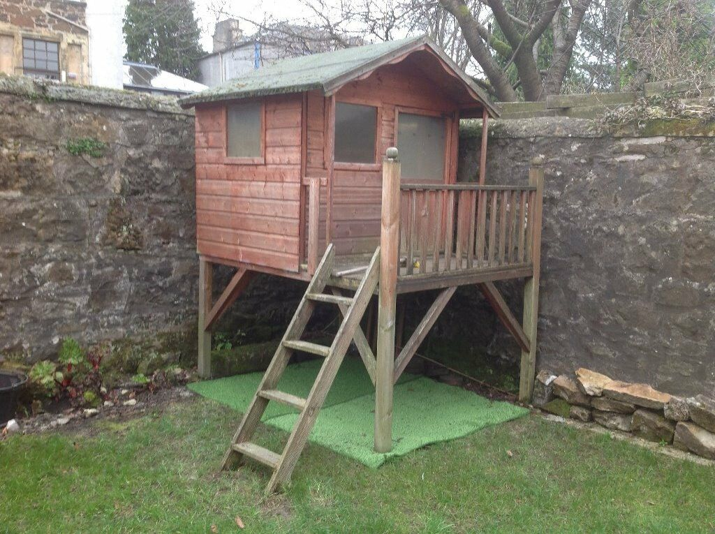 Childrens Wooden Treehouse Playhouse On Stilts In