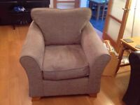Two armchairs in chenille fabric from M&S