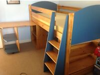 Boys Cabin Bed with integrated desk and book shelf. Also a matching set of drawers.