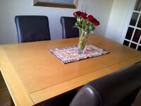 Solid Oak Extending Dining Room Table