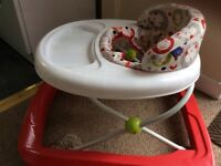 baby walker Red and white pattern on wheels