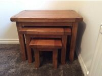 Solid Oak Nest of Tables