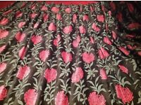 Black Chenille Fabric with modern pink flower & grey leaf pattern - Handmade PRICE DROP!!!!!!!