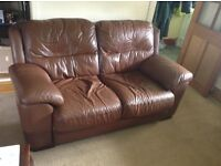 Brown Leather Sofa & 2 Chairs