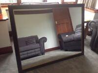 Beautiful large dark wood rectangular mirror