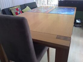 Chunky, wooden extending table and 6 chairs