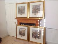 PRINTS SET OF 4 IN LOVELY LARGE DECORATIVE GOLD FRAMES £25 EACH